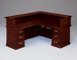 Governors72'' W Left Reception L Desk - Engraved Executive Mahogany [7350-656-FS-DMI]