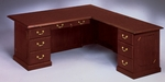Governors72'' W Right Executive L Desk - Engraved Executive Mahogany [7350-55-FS-DMI]