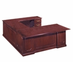 Governors72'' W Right Executive U Desk - Engraved Executive Mahogany [7350-57-FS-DMI]