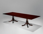 Governors 8' Rectangular Conference Table with Queen Anne Bases - Engraved Executive Mahogany [7350-97-FS-DMI]