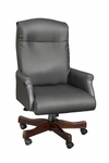 Governors Roll Arm Executive Desk Chair in Black Leather - Engraved Executive Mahogany [6940-1101-FS-DMI]