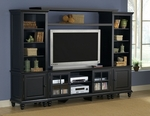 Grand Bay Wood 108.25''W x 74''H Entertainment Wall Unit with Adjustable Shelves and Glass Front Doors - Black [6123LEC-FS-HILL]