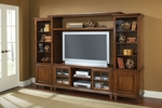 Grand Bay Wood 108.25''W x 74''H Entertainment Wall Unit with Adjustable Shelves and Glass Front Doors - Warm Brown [6179LEC-FS-HILL]