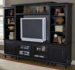 Grand Bay Wood 94.75''W x 74''H Entertainment Wall Unit with Adjustable Shelves and Glass Front Doors - Black [6123SEC-FS-HILL]