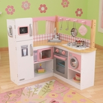 Kids Wooden Make-Believe Grand Gourmet Corner Kitchen Play Set - White and Pink [53185-FS-KK]