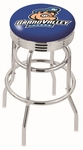 Grand Valley State University 25'' Chrome Finish Double Ring Swivel Backless Counter Height Stool with Ribbed Accent Ring [L7C3C25GVSTUN-FS-HOB]