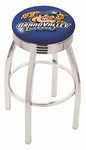 Grand Valley State University 25'' Chrome Finish Swivel Backless Counter Height Stool with 2.5'' Ribbed Accent Ring [L8C3C25GVSTUN-FS-HOB]