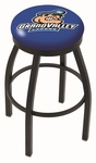Grand Valley State University 25'' Black Wrinkle Finish Swivel Backless Counter Height Stool with Accent Ring [L8B2B25GVSTUN-FS-HOB]