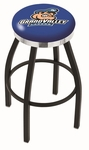 Grand Valley State University 25'' Black Wrinkle Finish Swivel Backless Counter Height Stool with Chrome Accent Ring [L8B2C25GVSTUN-FS-HOB]
