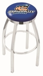 Grand Valley State University 25'' Chrome Finish Swivel Backless Counter Height Stool with Accent Ring [L8C2C25GVSTUN-FS-HOB]