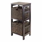 Granville 3-Pc Storage Shelf in Espresso with 2 Foldable Baskets [92826-FS-WWT]