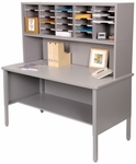 Mailroom 60'' W x 30'' D x 60'' H Literature Organizer and Riser with 25 Adjustable Slots - Gray [UTIL0023-FS-MVL]