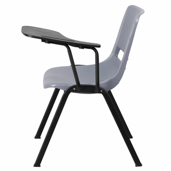 Gray Ergonomic Shell Chair With Left Handed Flip Up Tablet Arm RUT EO1 GY LT