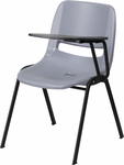 Gray Ergonomic Shell Chair with Left Handed Flip-Up Tablet Arm [RUT-EO1-GY-LTAB-GG]