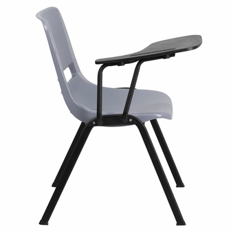 Gray Ergonomic Shell Chair With Right Handed Flip Up Tablet Arm RUT EO1 GY R