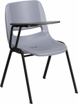 Gray Ergonomic Shell Chair with Right Handed Flip-Up Tablet Arm [RUT-EO1-GY-RTAB-GG]