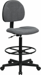 Gray Fabric Ergonomic Drafting Chair (Adjustable Range 22.5''-27''H or 26''-30.5''H) [BT-659-GRY-GG]