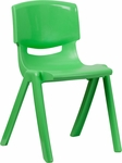 Green Plastic Stackable School Chair with 18'' Seat Height [YU-YCX-007-GREEN-GG]