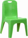 Green Plastic Stackable School Chair with Carrying Handle and 11'' Seat Height [YU-YCX-011-GREEN-GG]
