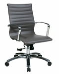 OSP Furniture Mid Back Eco Leather Office Chair with Locking Tilt - Grey [74612LT-FS-OS]
