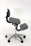BetterPosture® Grey Jazzy Chrome Deluxe Kneeling Chair [F1446GY-FS-JB]