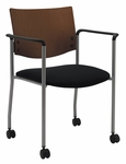 1300 Series Stacking Guest Armchair with Chocolate Wood Back and Casters - Grade 2 Upholstered Seat [CS1311SL-SP20-GR2-IFK]