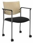Guest Stacking Chair with Arms and Casters-Grade 2 Upholstered Seat and a Natural Wood Back [CS1311SL-SP22-GR2-IFK]