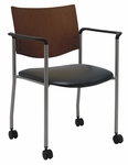 1300 Series Stacking Guest Armchair with Chocolate Wood Back and Casters - Vinyl Seat [CS1311SL-SP20-VINYL-IFK]