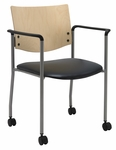 Guest Stacking Chair with Arms and Casters-Vinyl Seat and a Natural Wood Back [CS1311SL-SP22-VINYL-IFK]
