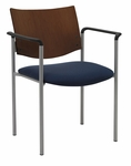 Guest Stacking Chair with Arms-Grade 2 Upholstered Seat and a Chocolate Wood Back [1311SL-SP20-GR2-IFK]