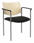 Guest Stacking Chair with Arms-Grade 3 Upholstered Seat and a Natural Wood Back [1311SL-SP22-GR3-IFK]