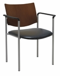 Guest Stacking Chair with Arms-Vinyl Seat and a Chocolate Wood Back [1311SL-SP20-VINYL-IFK]