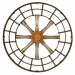 Weathered Distressed Gun Metal Silver and Copper Blue Spoked 20''H Wall Art [2620-FS-PAS]