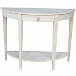 Butcher Block Top Solid Parawood 42''W X 32''H Half Moon Console Table with Drawer- Unfinished [OT-1643HD-FS-WHT]