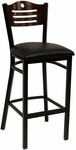 Half Wood Back Barstool with Slotted Accents - Black Vinyl Seat [77B-BS-BVS-SAT]