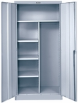 800 Series Antimicrobial One Wide Single Tier Double Door Combination Cabinet - Unassembled - Platinum - 36''W x 24''D x 78''H [855C24PL-AM-HAL]
