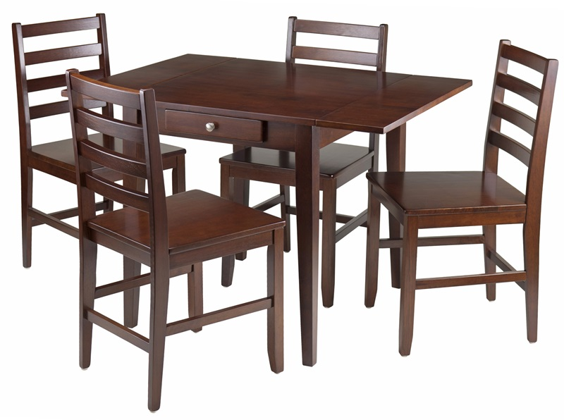 hamilton 5 pc drop leaf dining table with ladder back chairs 94561 by