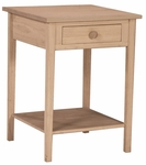 Hampton Solid Parawood 21''W X 30''H Bedside Table With Drawer And Storage Shelf - Unfinished [OT-91-FS-WHT]