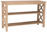 Hampton Solid Parawood 48''W X 30''H Console Sofa Table With Display Storage Shelves - Unfinished [OT-70S-FS-WHT]