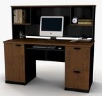 Hampton Credenza and Hutch with Filing Drawer and Keyboard Shelf - Tuscany Brown and Black [69450-3163-FS-BS]
