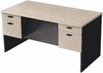 Hampton Executive Workstation with Hanging Pedestals - Sand Granite and Charcoal [69400-2186-FS-BS]