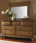 Hamptons Classic Wood 69''W x 38''H Dresser with Scalloped Base - Weathered Pine [1553-717-FS-HILL]
