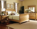 Hamptons 4 Piece Wood Bedroom Group Includes Sleigh Bed, Nightstand, Dresser, and Mirror - Queen - Weathered Pine [1553BQR4PC-FS-HILL]