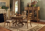 Hamptons Wood 74'' Diameter Round Dining Table with Extension Leaves - Weathered Pine [4608DTB-FS-HILL]