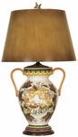Vintage Hand Painted Ceramic 29''H Table Lamp with Brown Antiqued Parchment Shade [07T681-FS-PAS]