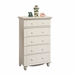 Harbor View 31''W x 50''H 5 Drawer Wooden Chest with Solid Wood Knobs - Antiqued White [158015-FS-SRTA]