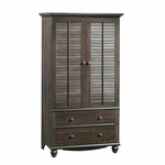 Harbor View 39''W x 72''H Wooden Armoire with Folding Louver Doors - Antiqued Paint [401322-FS-SRTA]