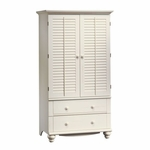 Harbor View 39''W x 72''H Wooden Armoire with Folding Louver Doors - Antiqued White [158036-FS-SRTA]