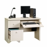 Harbor View 43''W x 29''H Wooden Computer Desk with Flip-Down Panel - Antiqued White [401685-FS-SRTA]