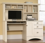 Harbor View 62''W x 57''H Wooden Computer Desk and Hutch with Sliding Keyboard Shelf - Antiqued White [158034-FS-SRTA]
